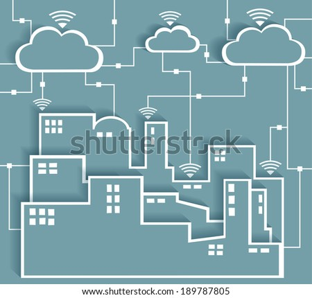 Cloud Computing Connectivity Paper Cutout Stickers City Network - Wifi Internet Connectivity concept, EPS10 Grouped and Layered