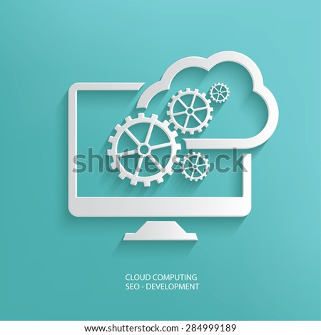 Cloud computing design on blue background,clean vector - stock vector