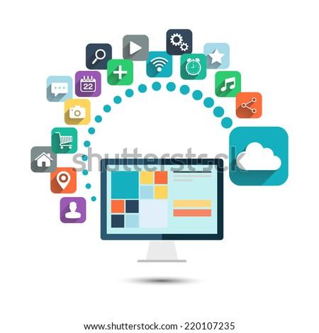 Cloud computing. Desktop computer with color web icons vector illustration. - stock vector