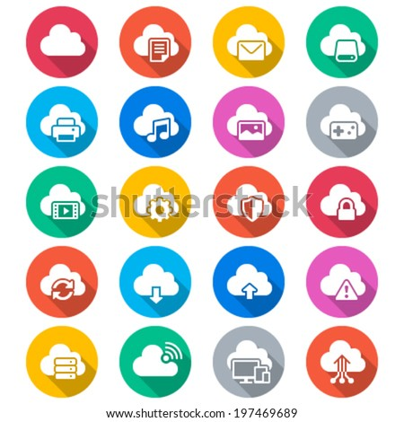 Cloud computing flat color icons - stock vector