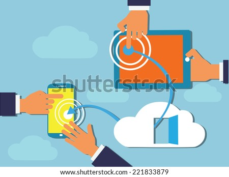 Cloud Computing flat design. Devices connected to the cloud. Hand touching .  - stock vector