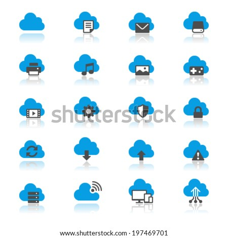 Cloud computing flat with reflection icons - stock vector