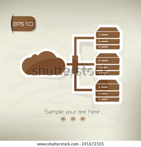 Cloud computing icon on  brown background,clean vector - stock vector