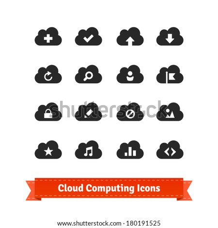 Cloud computing icon set. - stock vector