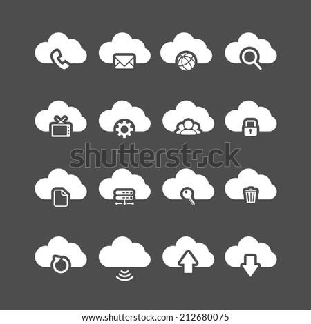 cloud computing icon set, each icon is a single object (compound path), vector eps10. - stock vector