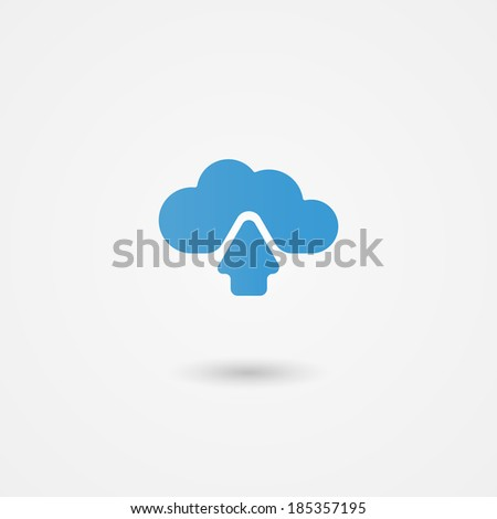 Cloud computing icon showing an upload arrow for data being transmitted to online or virtual storage with global access across devices  vector illustration - stock vector