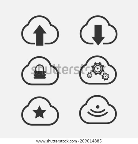 Cloud computing icons - stock vector