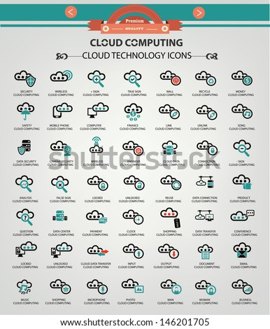 Cloud computing icons,Blue version,vector - stock vector