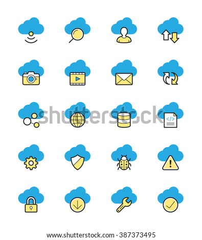 Cloud Computing icons, Monochrome color - Vector Illustration - stock vector