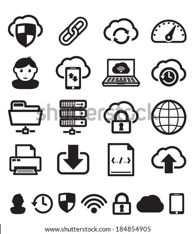 Cloud computing icons set BW - stock vector