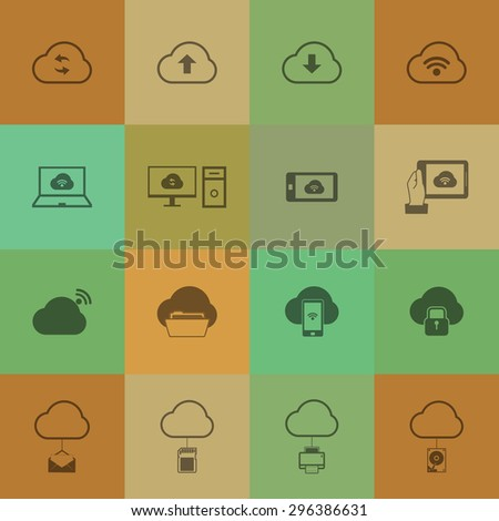 Cloud computing icons set on retro colour background. - stock vector