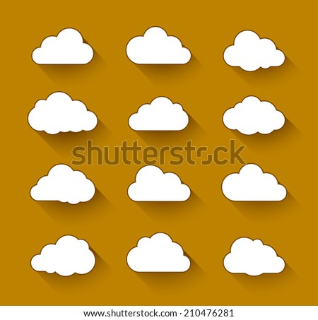 Cloud computing icons with long shadow. Vector illustration of clouds collection - stock vector