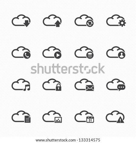 Cloud Computing Icons with White Background - stock vector
