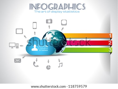 Cloud Computing Infographic concept background with a lot of icons: tablet, smartphone, computer, desktop, monitor, music, downloads and so on - stock vector