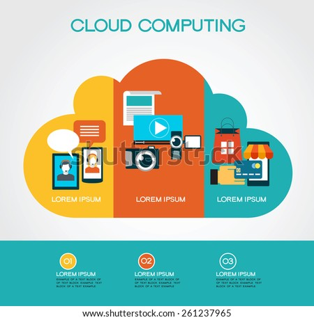 cloud computing infographic Template with interface icons, clouds and text. cloud computing concept - stock vector
