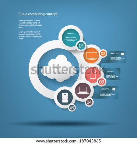 Cloud computing infographics concept for presentations or promotion. Eps10 vector illustration - stock vector