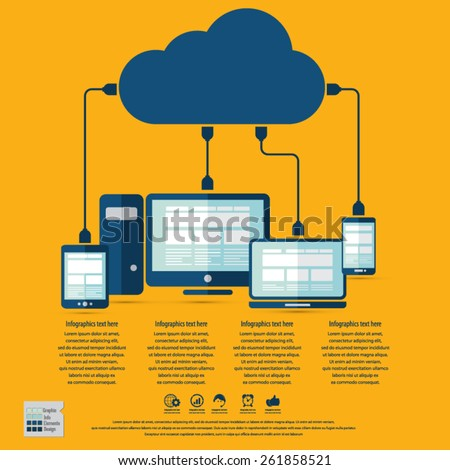 "Cloud computing infographics - Devices connected to the ""cloud"".EPS10 vector. All elements (background,devices, text ) are in separate layers. Fully editable. - stock vector"