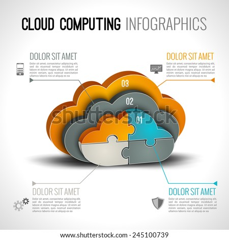 Cloud computing infographics set with 3d chart and data elements vector illustration - stock vector