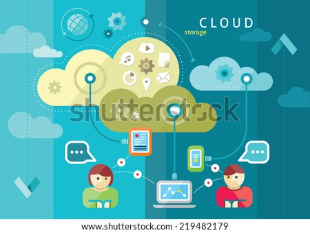 Cloud computing internet concept with a lot of icons tablet smartphone computer desktop monitor user downloads flat design cartoon style - stock vector