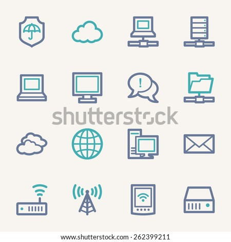 Cloud computing & internet icons set - stock vector