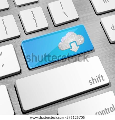 Cloud computing keyboard - stock vector