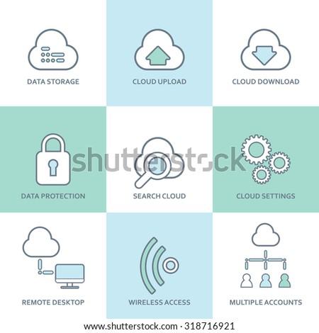 Cloud computing line icons set. Flat design elements. Database, communication technology, hosting services, server computer symbols. Eps10 vector illustration. - stock vector