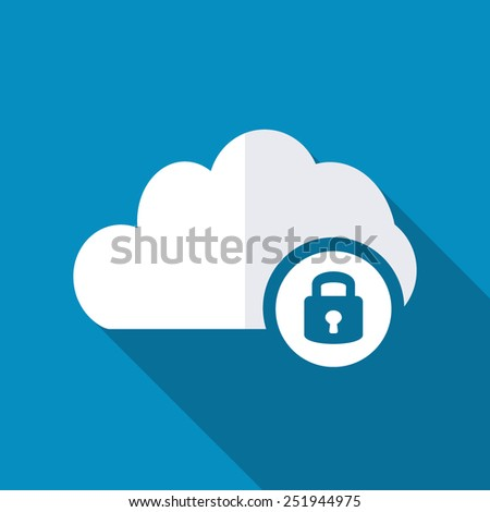 Cloud computing lock icon - stock vector