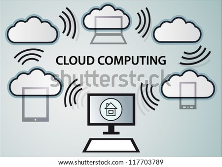 Cloud computing modern internet design - stock vector