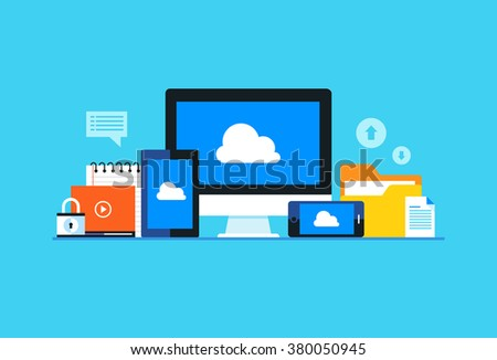 Cloud computing, Network cloud service. Flat design modern vector illustration concept. - stock vector