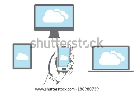 Cloud computing Network Connected all Devices - stock vector