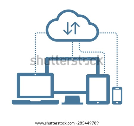 Cloud computing Network Connected all Devices. Flat design. - stock vector
