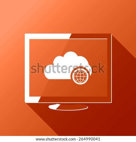 Cloud computing network globe. Desktop. Flat style design with long shadow - stock vector