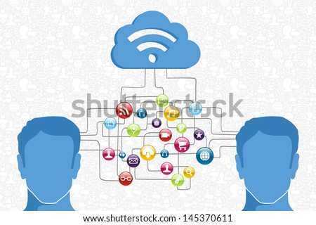 Cloud computing network men interaction diagram. Vector illustration layered for easy manipulation and custom coloring. - stock vector