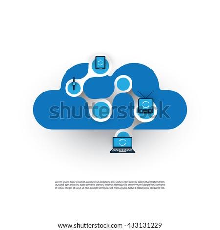 Cloud Computing, Networks Design Concept - stock vector