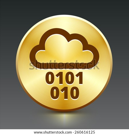 Cloud Computing on Gold Round Button - stock vector