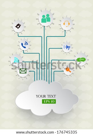 Cloud computing on light gray background.Social networks.Vector illustration