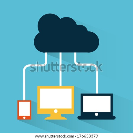 cloud computing over blue  background vector illustration - stock vector