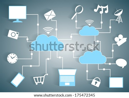 Cloud Computing Paper Cutout Icons BYOD Devices Network - Wifi Internet Connectivity concept, EPS10 Grouped and Layered - stock vector