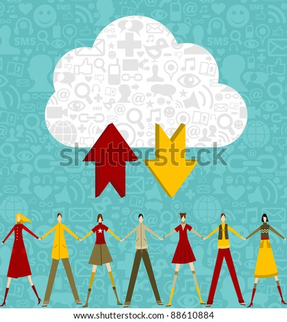 Cloud computing people concept on blue background with social icons. Vector file available. - stock vector