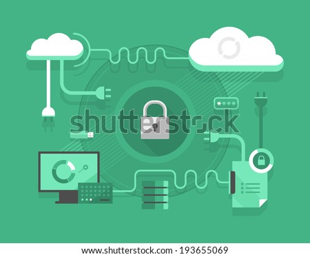 Cloud computing. Security concept in cloud computing and hosting technology - stock vector