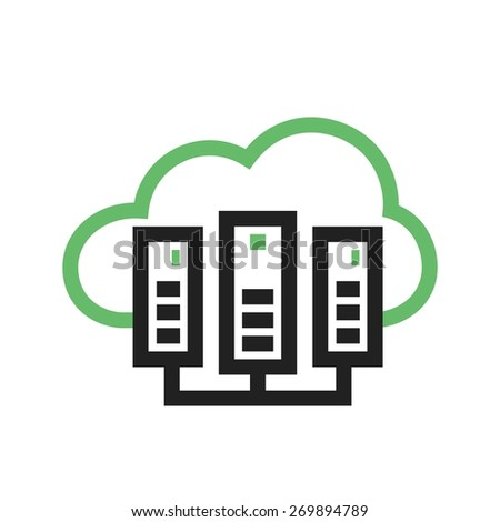 Cloud, computing, server icon vector image. Can also be used for communication, connection, technology. Suitable for web apps, mobile apps and print media. - stock vector