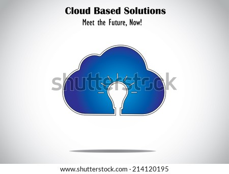cloud computing server solution ideas with blue cloud & light bulb. abstract unique icon of innovative concept of cloud based design with bright glowing lightbulb idea - illustration art - stock vector