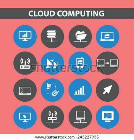 cloud computing, sever, network icons, signs, illustrations, silhouettes set, vector - stock vector