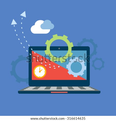 Cloud computing.  Sharing and downloading concept. Vector illustration - stock vector