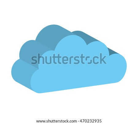 cloud computing silhouette icon vector isolated graphic