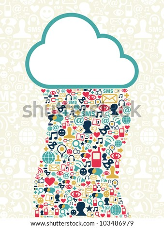 Cloud computing social media network background with icons set. Vector file layered for easy manipulation and custom coloring. - stock vector