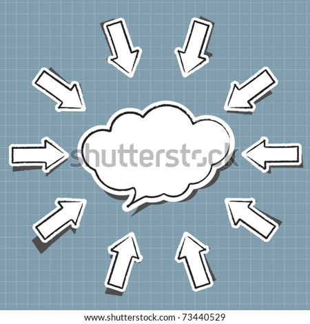 Cloud computing sticker in comic style - stock vector