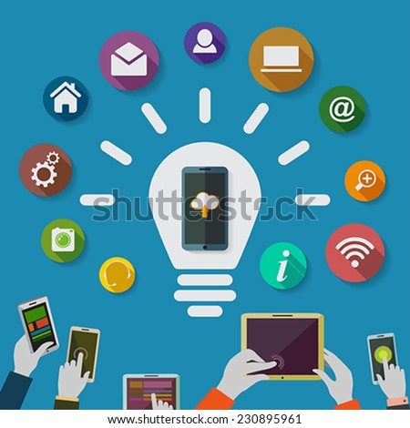 Cloud computing storage and applications on a mobile phone  with a set of icons.Idea.Lighbulb. Vector Illustration.  - stock vector