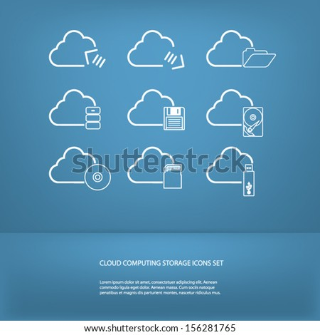 Cloud computing storage icons set in modern flat design - stock vector