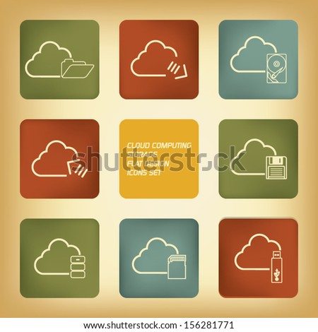 Cloud computing storage icons set in modern flat design with vintage colors  - stock vector